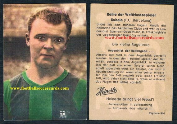 1960 Gum card of Kubala Barcelona by Heinerle 1st series